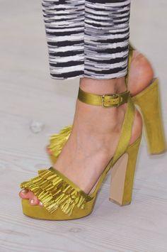 Matthew Williamson Golden Fringe Sandals Spring 2014 London Fashion Week