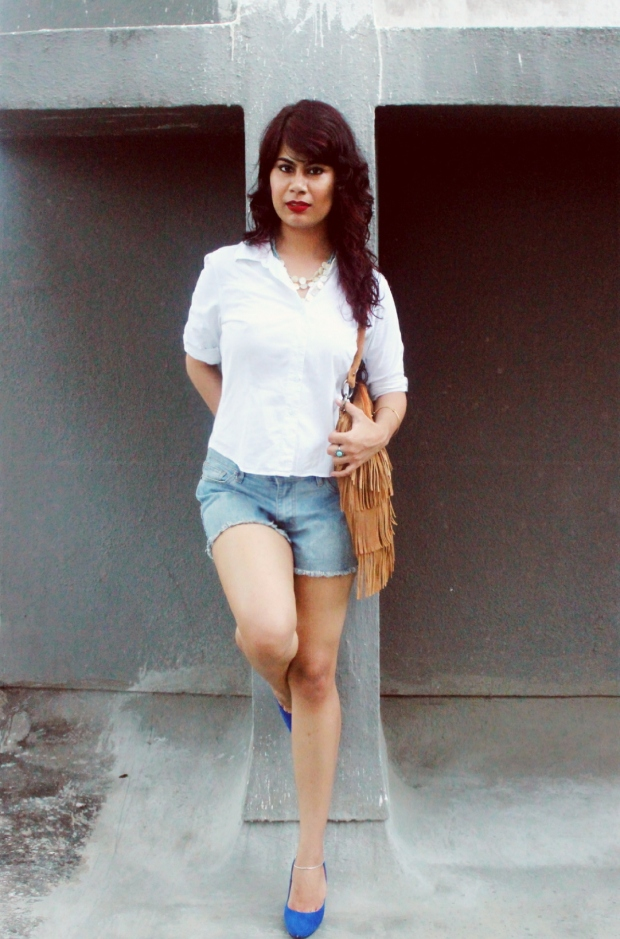 Denim, white and fringe