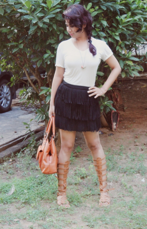Fringe skirt and gladiator shoes