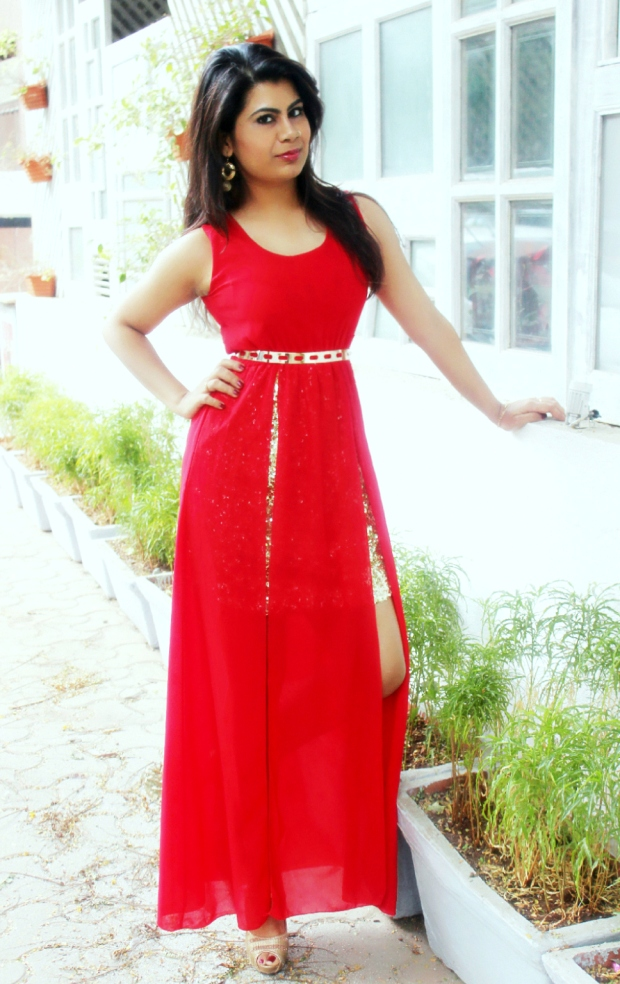 red and gold Christmas dress