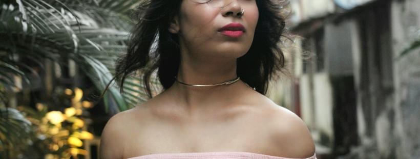 pink bardot top with denim