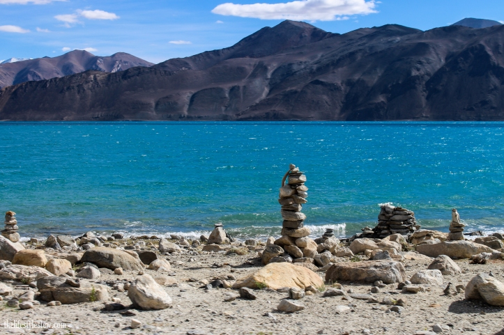 Cairns of stones, at Pangong Tso