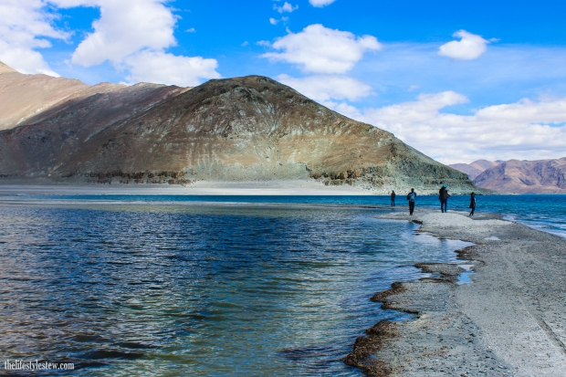 Walking along the banks of Pangong Tso